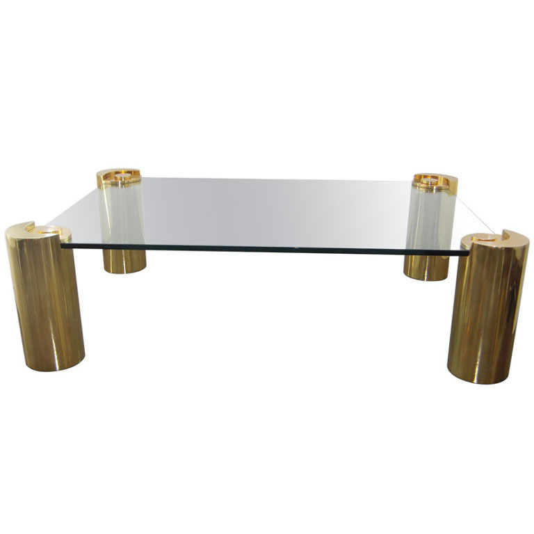 Charmant KARL SPRINGER COFFEE TABLE IN BRASS AND GLASS