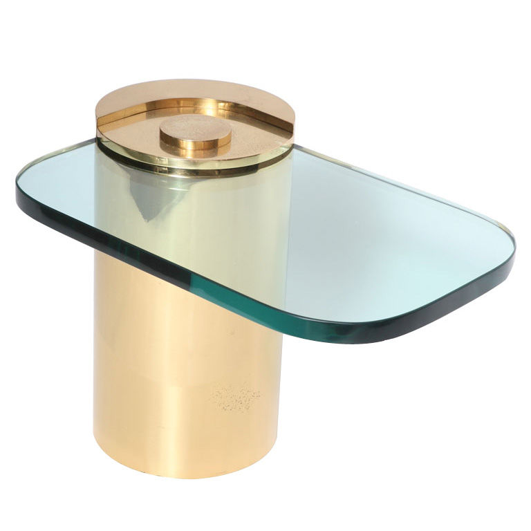 KARL SPRINGER SIDE TABLE BRASS AND GLASS